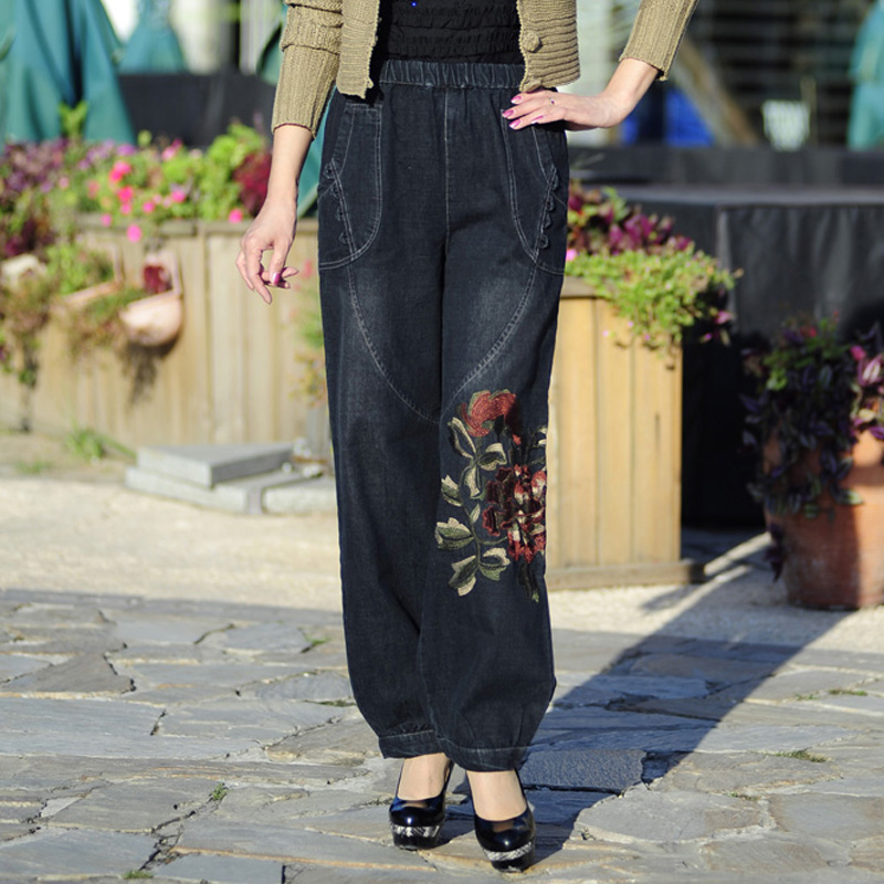 New Spring And Summer Summer Pants Women s Trousers Folk Style Embroidered Cowboy Wide Leg Trousers
