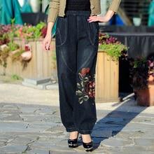 Новинка весны и лета летние штаны, Для женщин брюки, народные Стиль вышитые ковбой, широкие брюки, Высокая талия брюки, хар
