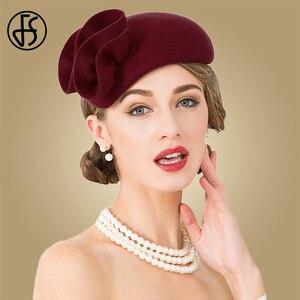 Image 3 - Fs 女性ウールの魅惑的な帽子結婚式の女性のエレガントなティーパーティー正式なヴィンテージピルボックス hatfelt 花 fedoras 帽子ファム