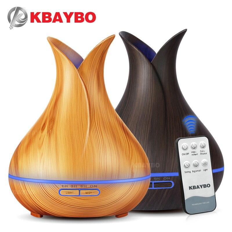 400 ml Ultrasonic Controle Remoto Grão de Madeira Aromaterapia Aroma do Óleo Essencial Difusor Umidificador para Casa Do Quarto Do Bebê