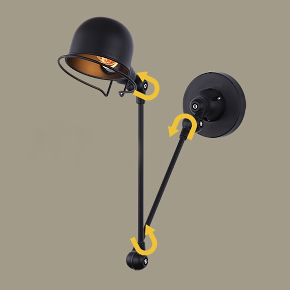 Long Adjust Angle Arm Metal Wall Lamp Black/White Lampshade Modern Study Room Wall Light Indoor Lighting E14 Fixture 2 colors modern iron wall lamp adjust angle arm bedroom study room work place e14 ac110v 240v wall light sconces fixtures
