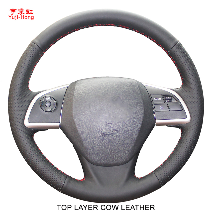 Yuji Hong Top Layer Genuine Cow Leather Car Steering Covers Case for Mitsubishi Outlander 2006 2012