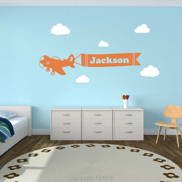 Aliexpresscom Buy Personalized Airplane Clouds Name Decal - Lego wall decals vinylaliexpresscombuy free shipping lego evolution decal wall