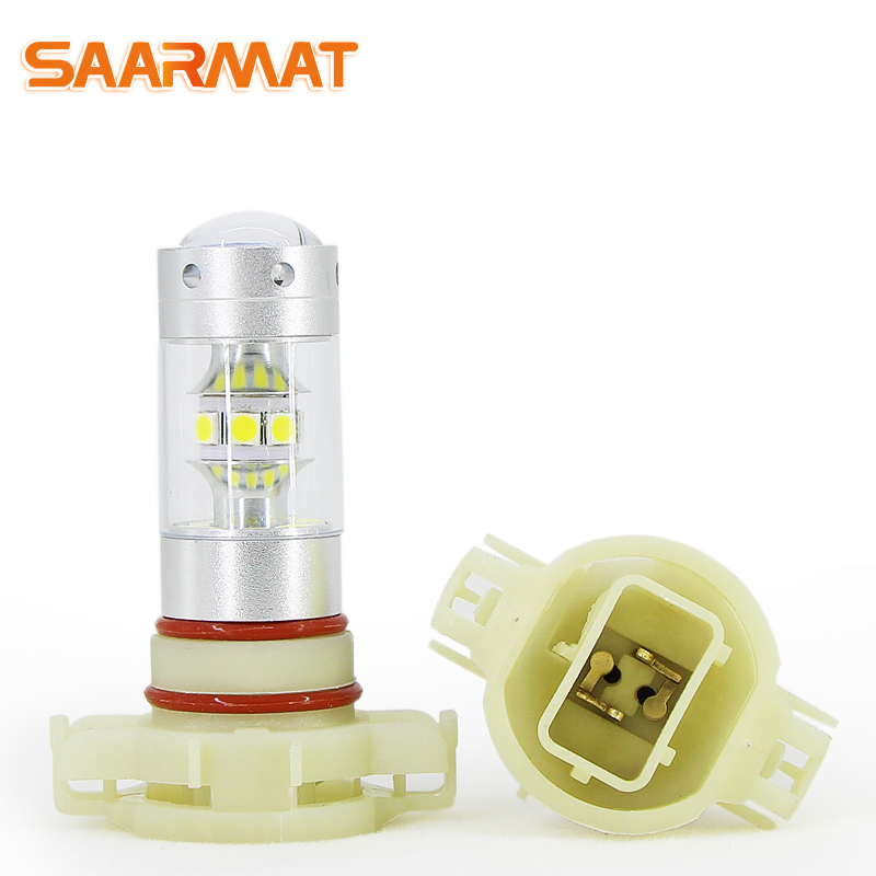 LED H16(EU) PS19W 5202 bulbs for Car Daytime Running Lights lamp Auto Source parking 6000K white 12V (2 Pieces) SAARMAT h16 11w 360lm 6000k 5 led white foglight for car dc12 24v