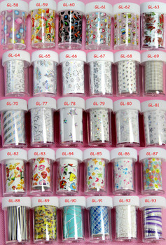 111pc/designs/lot  Nail Art Transfer Foil Nail Art Stickers Decorations Decals Nail Tip Styling Tools Lace Flower Pattern