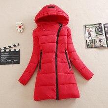 Новая Мода зима женщины пальто хлопка свободные длинным рукавом Вниз хлопка пальто длинный участок молния куртки