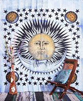Psychedelic Celestial Sun Moon Stars Tie Dye Tapestry, Hippie Hippy Wall Hanging Indian Tapestry