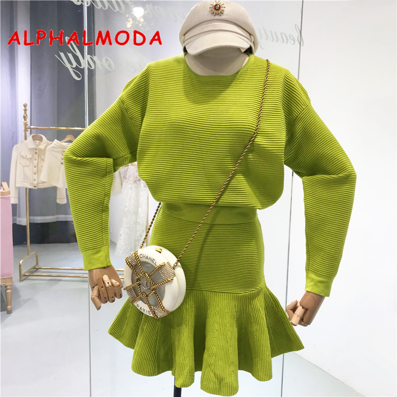 ALPHALMODA 2019 Spring Solid Long-sleeved Sweater + High Waist Mermaid Skirt Women Casual 2pcs Knitted Suit
