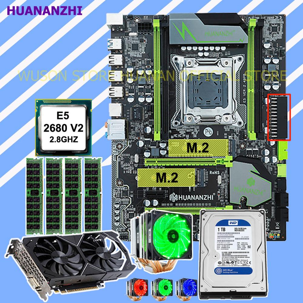 HUANANZHI X79 Pro Motherboard With DUAL M.2 Slot CPU Xeon E5 2680 V2 With Cooler RAM 32G Video Card GTX1050Ti 4G 1TB SATA HDD