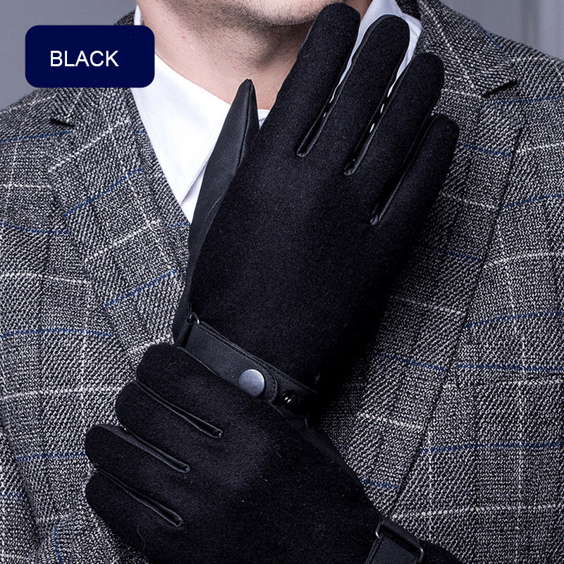 Autumn Winter Leather Gloves Male Anti-Wind Ski Touchscreen PU Gloves Hand Back Wool Clo ...