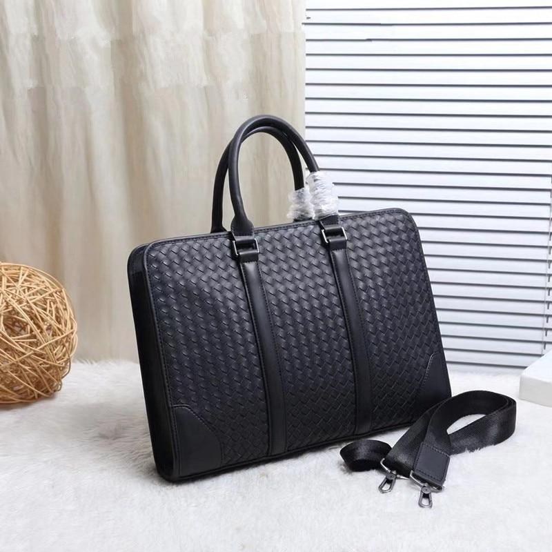 Kaisiludi Leather Bag Handbag Woven Briefcase Leisure Computer Bag Waxed Cowhide Large Capacity Single-shoulder Oblique Satchel