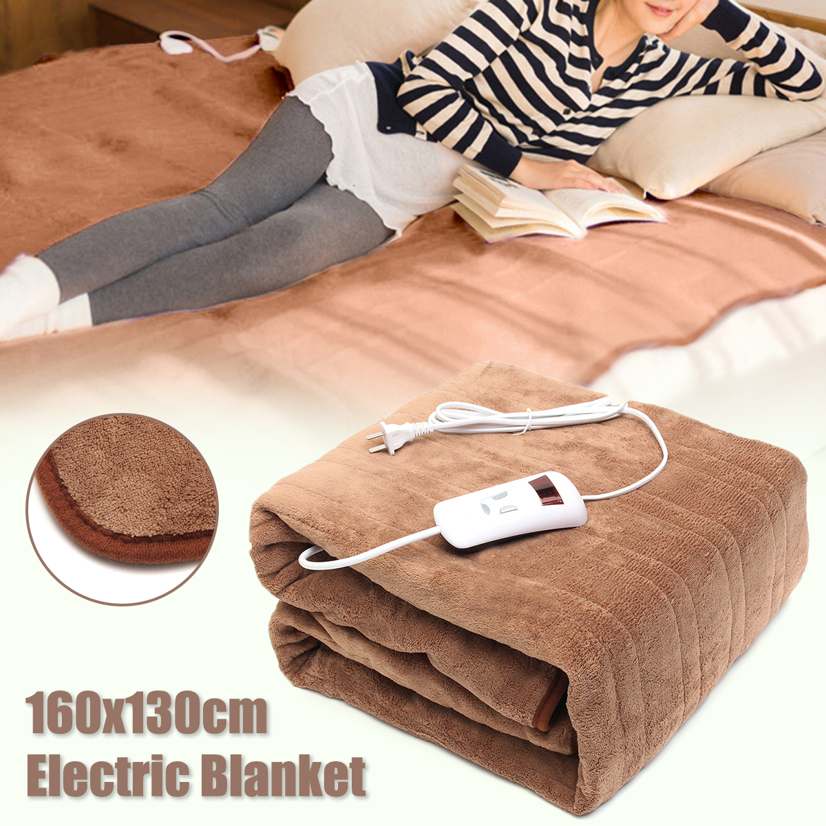 160x130cm Waterproof Electric Blanlet Double 220V Electric Heated Blanket Mat Single-control Dormitory Bedroom Heating Carpet
