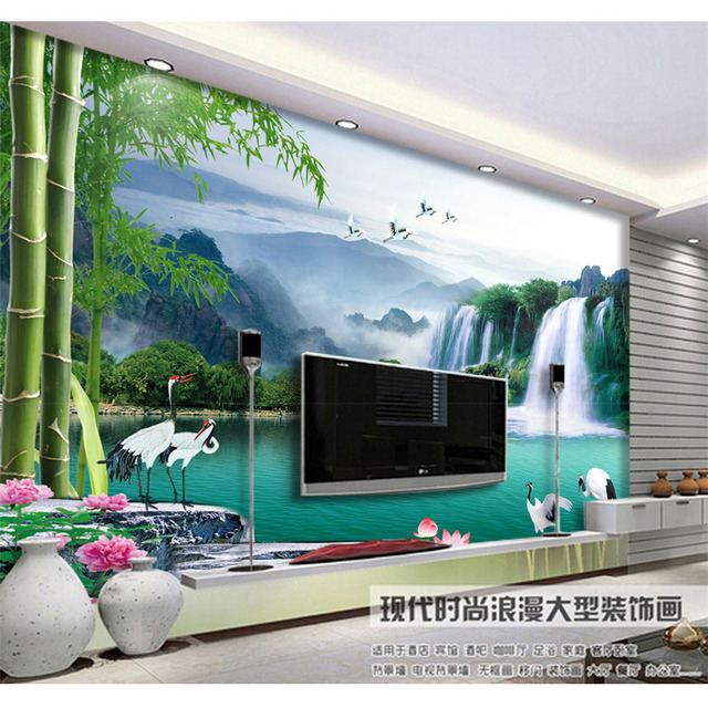 Murals Wallpaper For Walls Living Room Tv Background Beautiful Landscape Cranes Family Diy Art
