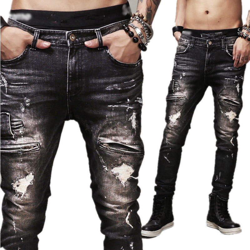 Good Quality Mens Slim Biker Jeans Black 100 Cotton Motorcycle Ripped Jeans Distressed Denim Jeans Pants