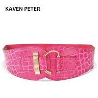 Women Belt Leather Luxury Wide Metal Buckle Design Belts For Women Elastic Waist Pink Crocodile Pattern
