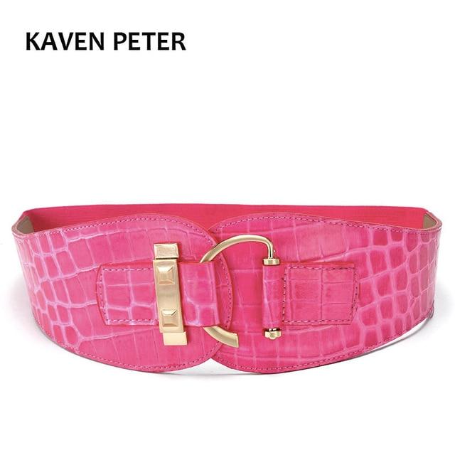 43f2544be Women Belt Leather Luxury Wide Metal Buckle Design Belts For Women Elastic  Waist Pink Crocodile Pattern Belt Female