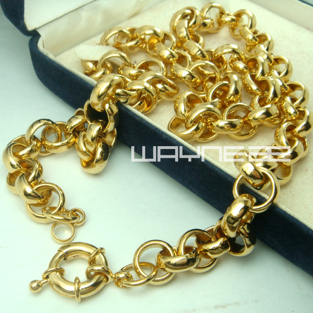 Gold color Link men solid chain necklace N221