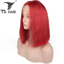 TD Hair Bob Wigs Remy Peruvian Straight Human Hair 180% density Pre-plucked 13x4 Lace Frontal Red Blue Purple Ombre Color Wig(China)