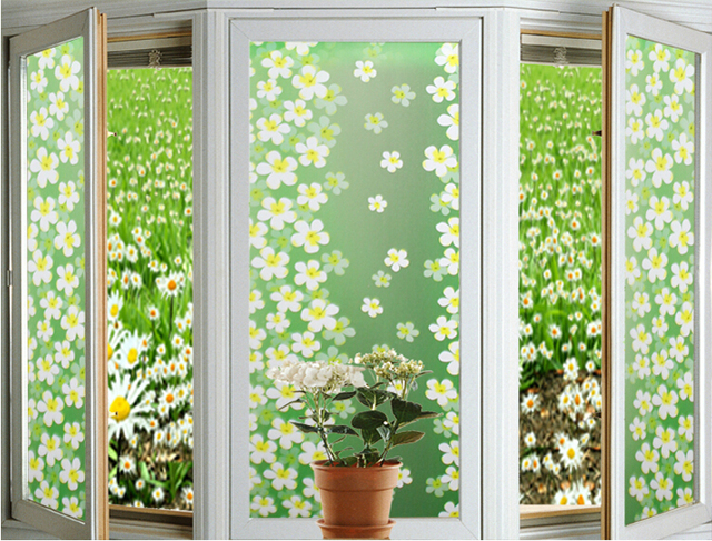 1pc green lilac static cling window film stained glass paper frosted decorative film for home garden - Decorative Window Film Stained Glass