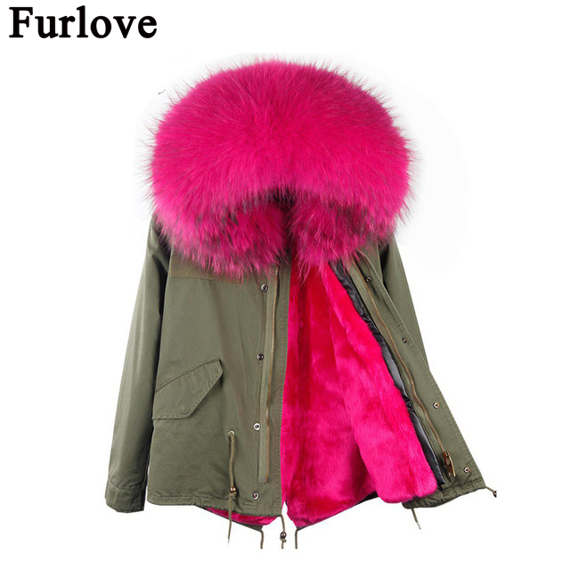 Furlove Army Green Parka Real Fur Collar Winter Coats Ladies Long Sleeve Faux Lined Hooded Plus Size Outerwear Parkas S-2XL