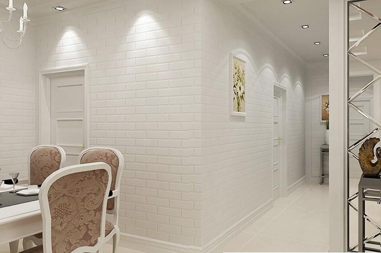 Nowoczesne 3D Cegły Off Biała Piana Grube Tłoczone Winylu oblicowywanie Ścian Ściany Rolki Papieru Tle Ściany salon Sypialnia Tapety 2