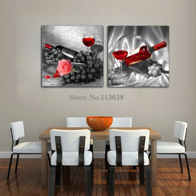 Free Shipping 2 Panels Romantic Rose Red Wine Fruit Printed Canvas Painting  Kitchen Wall Art Pictures