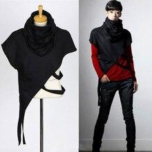 Hiphop T-Shirt Stage-Costume Singer Cloak Asymmetric Punk Nightclub Men Personality