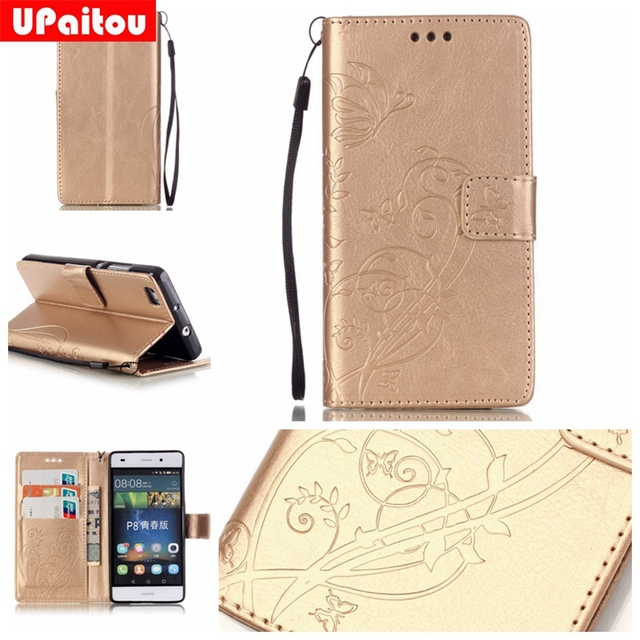 UPaitou 3D Embossing Flower Flip PU Leather Case For Huawei P8 lite with Card Holder Wallet Case Cover for Huawei ALE-L21 Case