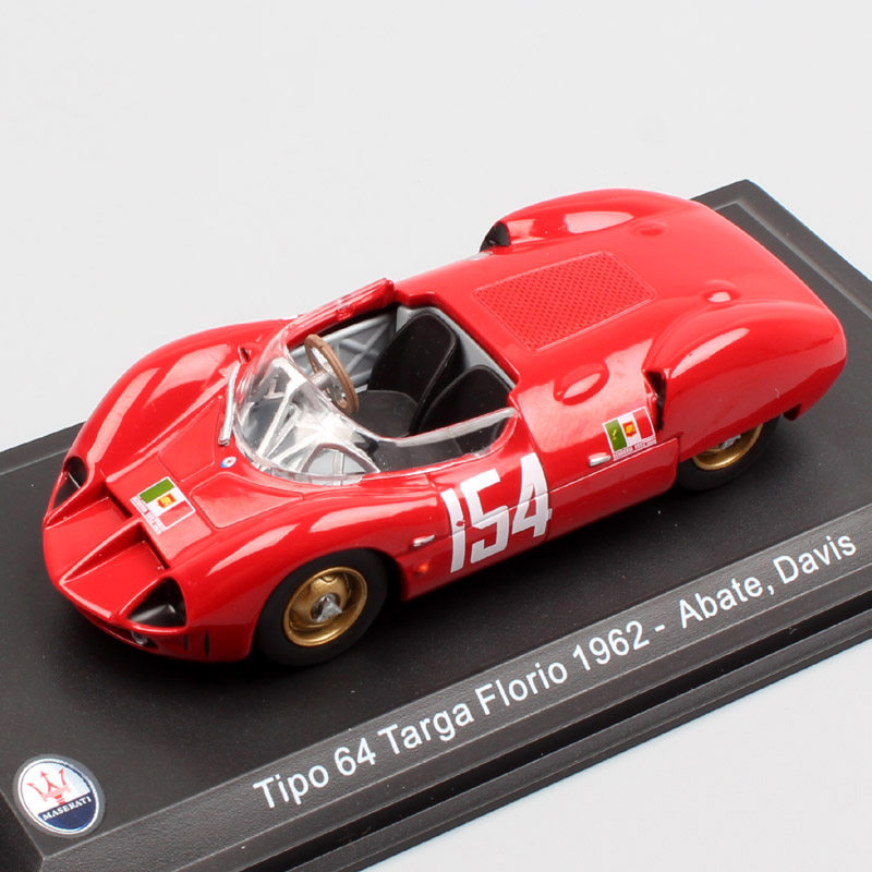 1/43 Scale Classic Old  Tipo 64 Targa Florio 1962 No.154 Abate Davis Open Road Endurance Racing Diecast Modeling Vehicle Car Toy