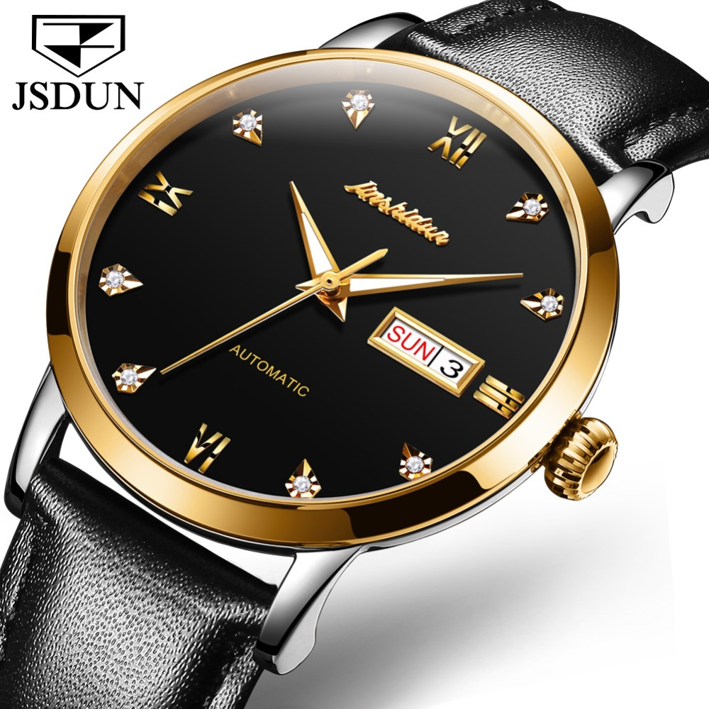 JSDUN Black Simple Series Elegant Design Genuine Leather Strap Male Wristwatch Mens Watches Top Brand Luxury Clock Men Automatic|Mechanical Watches| |  - title=