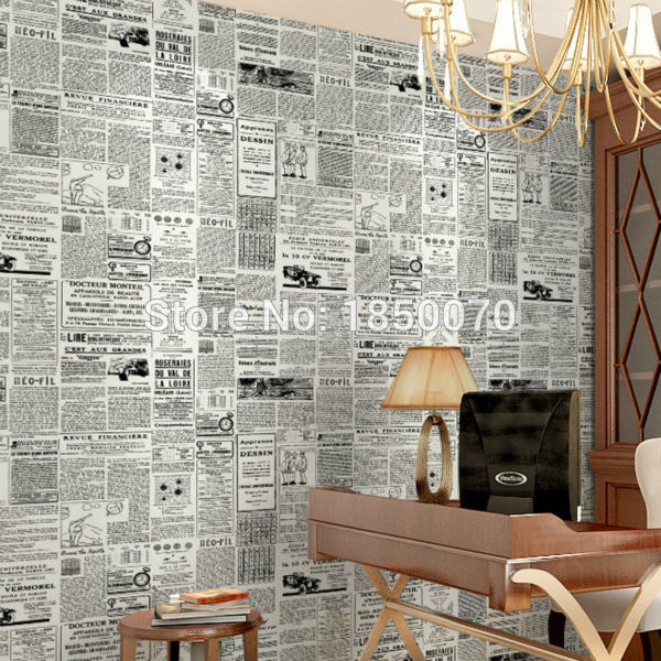 Buy high quality pvc wallpaper newspaper for Cheap designer wallpaper