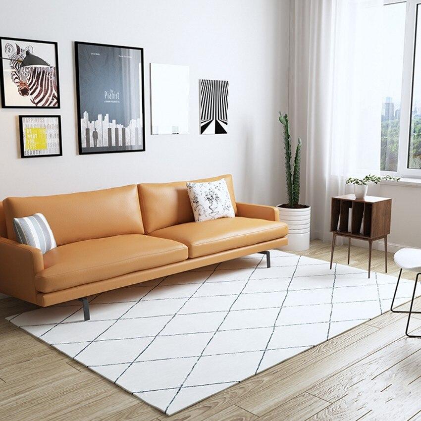 Tapis géométrique blanc beige style maroc, grande taille 140*200 cm salon tapis de table basse, tapis de décoration pastorale