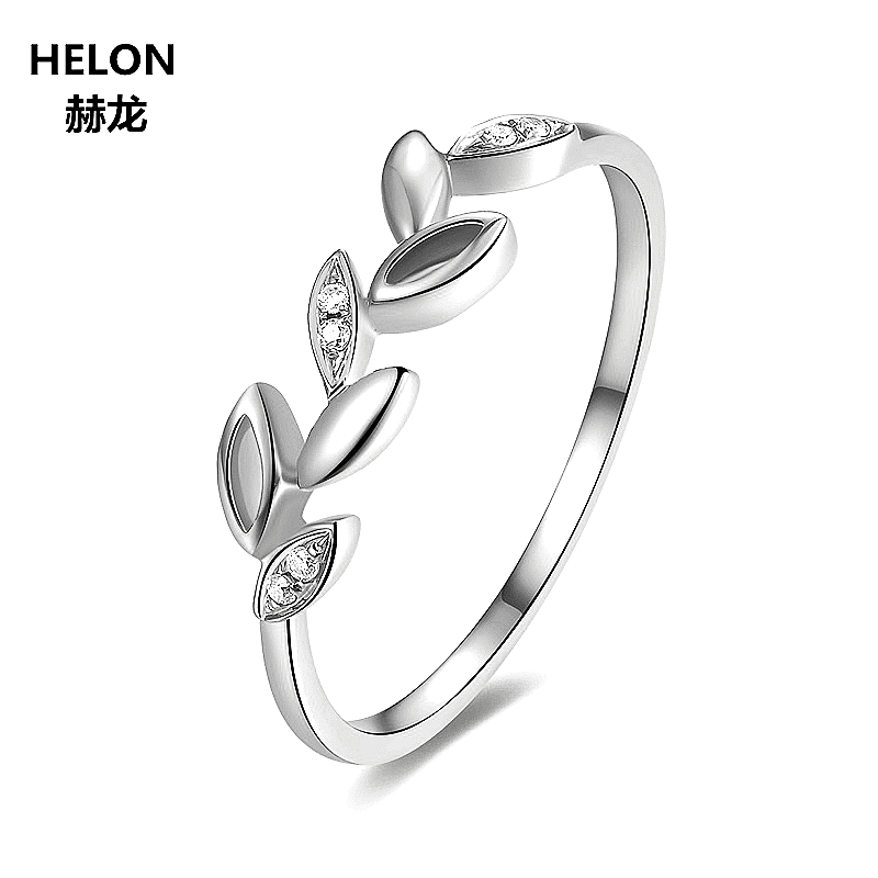 Leaf Solid 14k White Gold Natural Diamonds Engagement Ring Wedding Anniversary Band Fine Jewelry Women TrendyLeaf Solid 14k White Gold Natural Diamonds Engagement Ring Wedding Anniversary Band Fine Jewelry Women Trendy