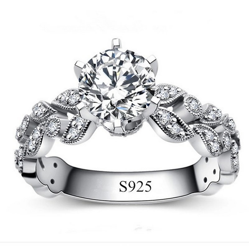 Fashion silver rings for women white gold plated jewelry for Diamond stamp on jewelry
