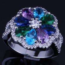 Gallant Flower Multigem Multicolor Sky Blue Cubic Zirconia 925 Sterling Silver Ring For Women V0090