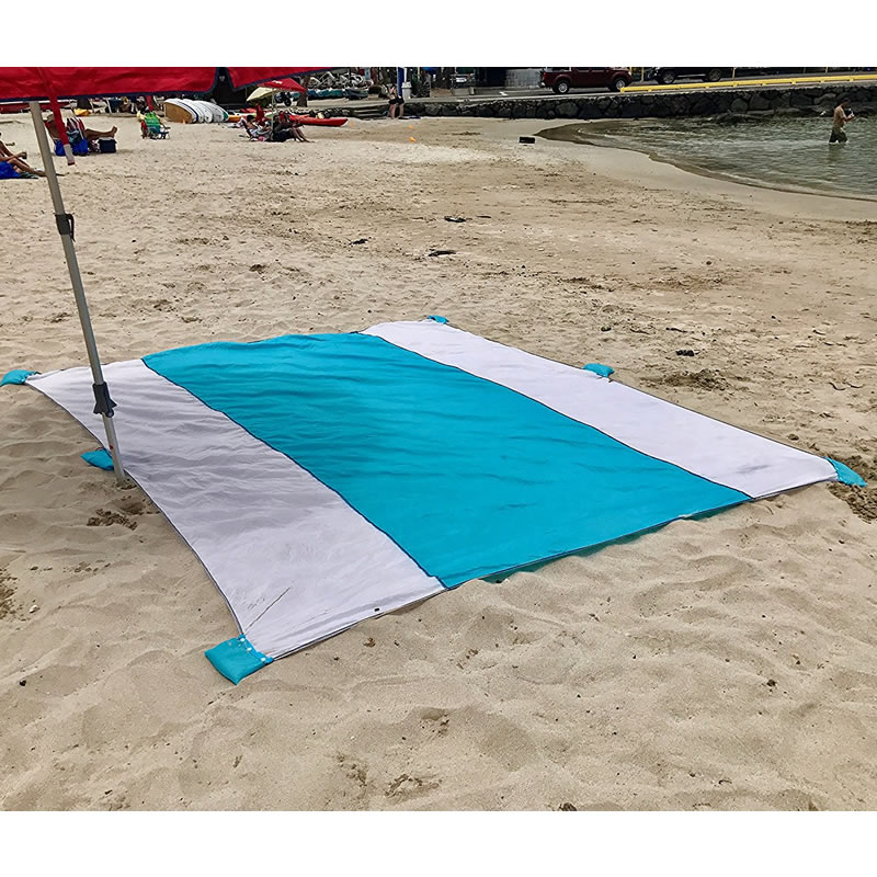 Beach Blanket Oversized, 10ft*9ft Sand Proof Beach Picnic Blanket Made of 100% Parachute Nylon Anchored with XL Sand Bags oversized cotton round beach towels with tassels