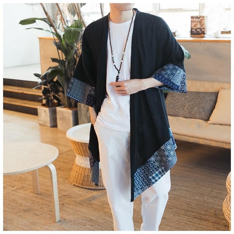 Japanese kimono cardigan men haori yukata male samurai costume clothing kimono jacket mens kimono shirt yukata haori KZ2002