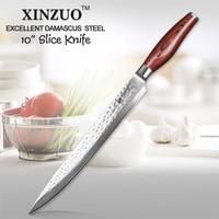 XINZUO 10 inch Cleaver Knives 10Cr15CoMoV Damascus Steel KitchenKnife Pakka Wood Handle Japanese Salmon Sushi Sashimi Knive