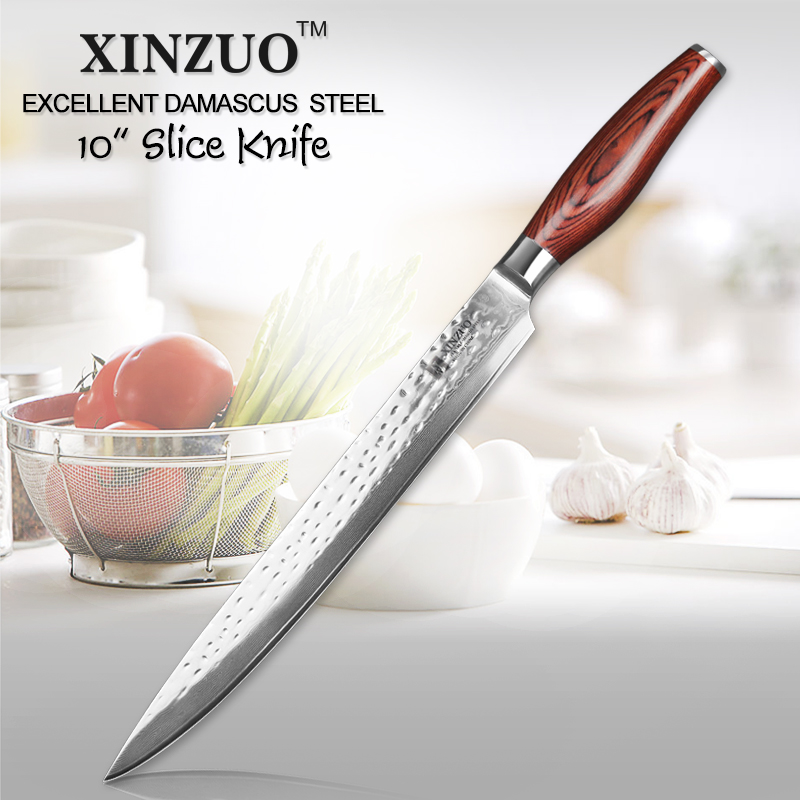 XINZUO 10 pouces couperet couteaux 10Cr15CoMoV couteau de cuisine en acier damas Pakka manche en bois japonais saumon Sushi Sashimi Knive