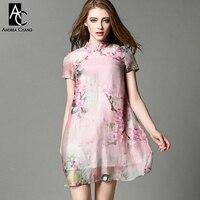 Spring Summer Runway Designer Womens Dress Pink A Line Silk Linen Dress Blue Bird Flower Print