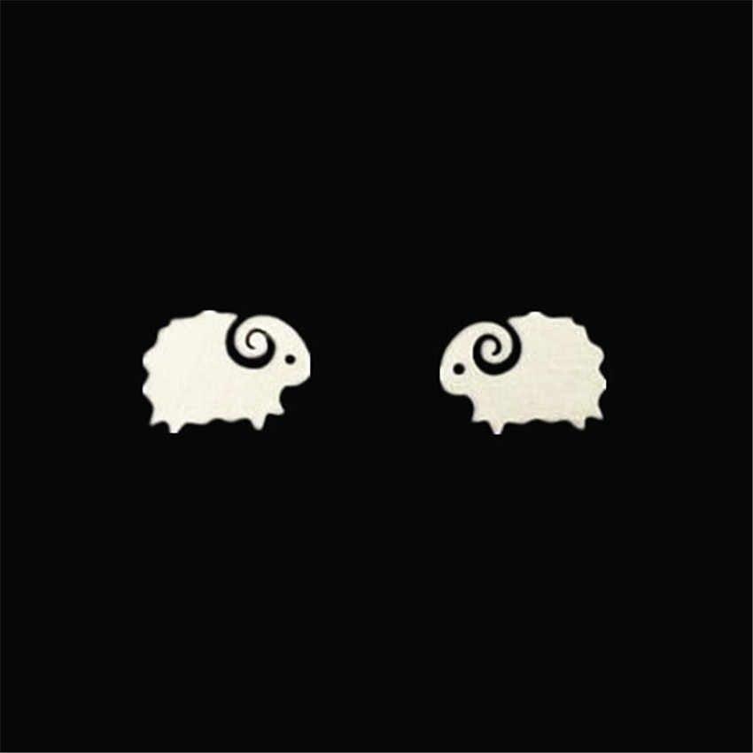 Minúsculo Animal Cabra Ovelhas delicados Brincos Do Parafuso Prisioneiro de Aço Inoxidável Brinco Crianças Meninas Jóias Acessórios Presentes de Aniversário