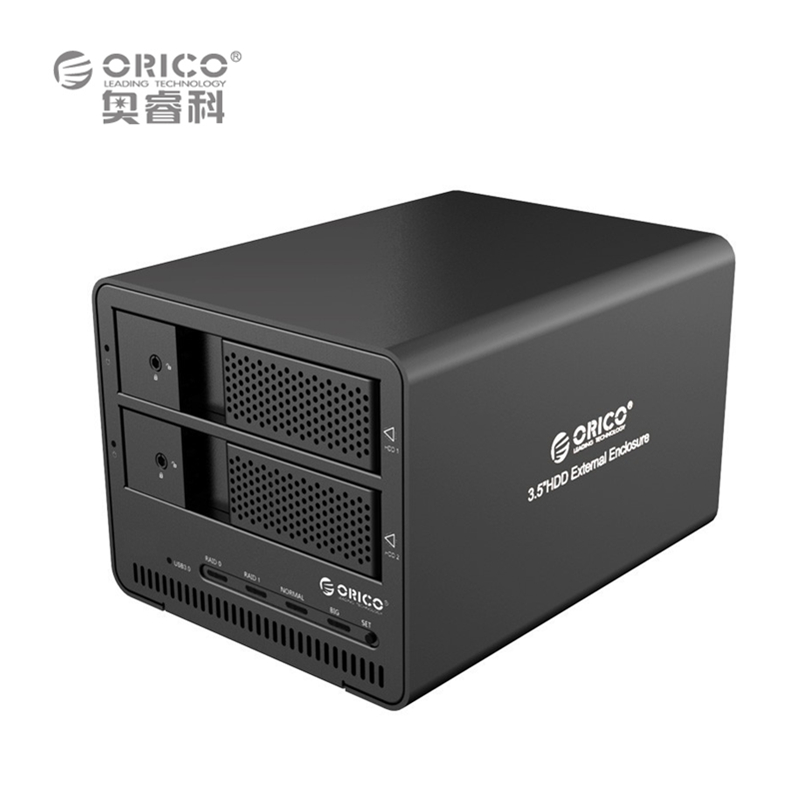 ORICO 9528RU3-BK Aluminum USB3.0 RAID 2-bay 3.5 HDD Enclosure Support 8TB x 2 with CE/FCC/3C/ROHS