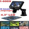 """LCD Microscópio Digital Zoom 1-600X Ampliação Contínua com 4.3 """"HD Display OLED Bateria De Lítio Recarregável"""