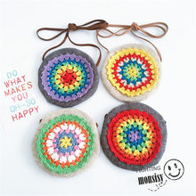 Monsisy Winter Baby Coin Purse Bag Chilren Wallet Girls Small Change Purse National Kid Crochet Flower Bag Baby Money Handbag(China)