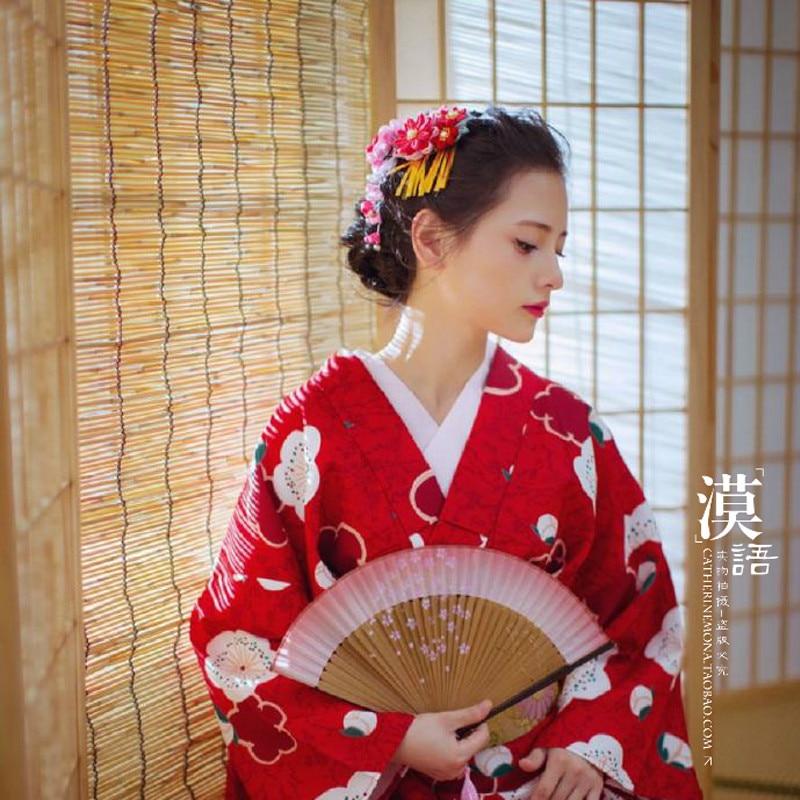 Japanese Hairpin Bathrobe Kimono Cosplay Custom Cloth Flower Hairpin / Headwear Tiaras O
