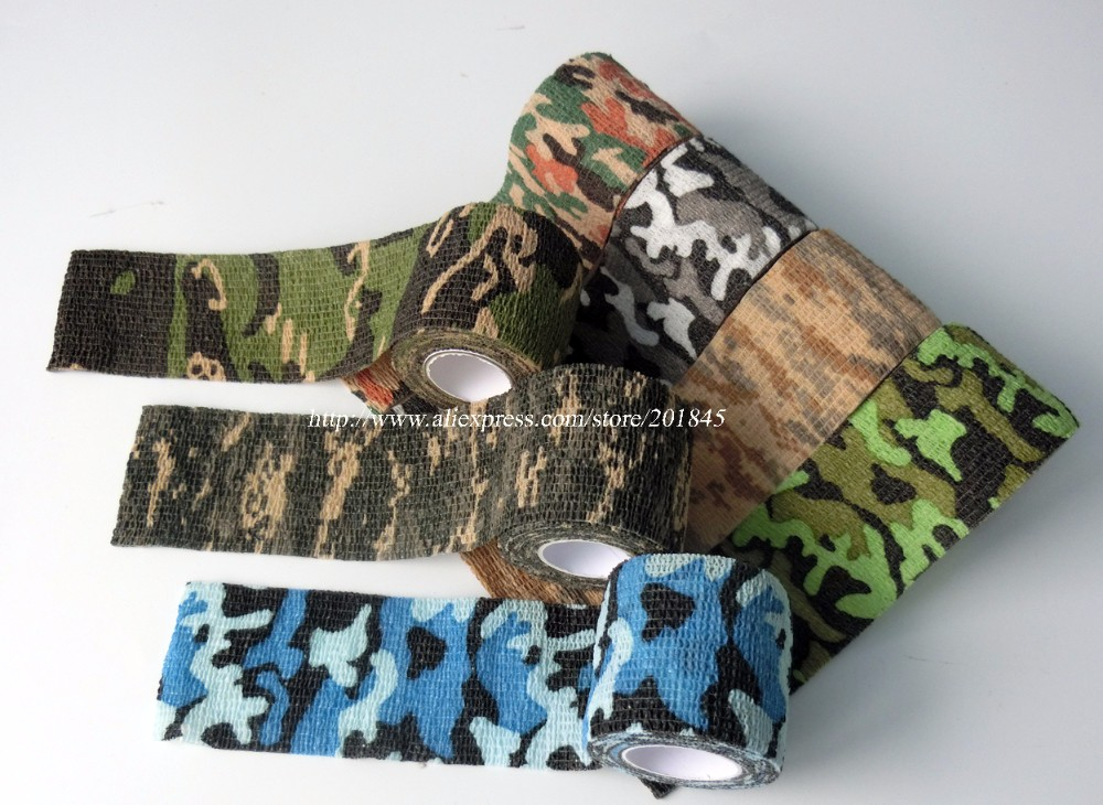 48 Rolls Camouflage Stretch Tapes Cohesive Hunting Camping Tactical Bandage Bike Modified Camo Tape Outdoor Essential