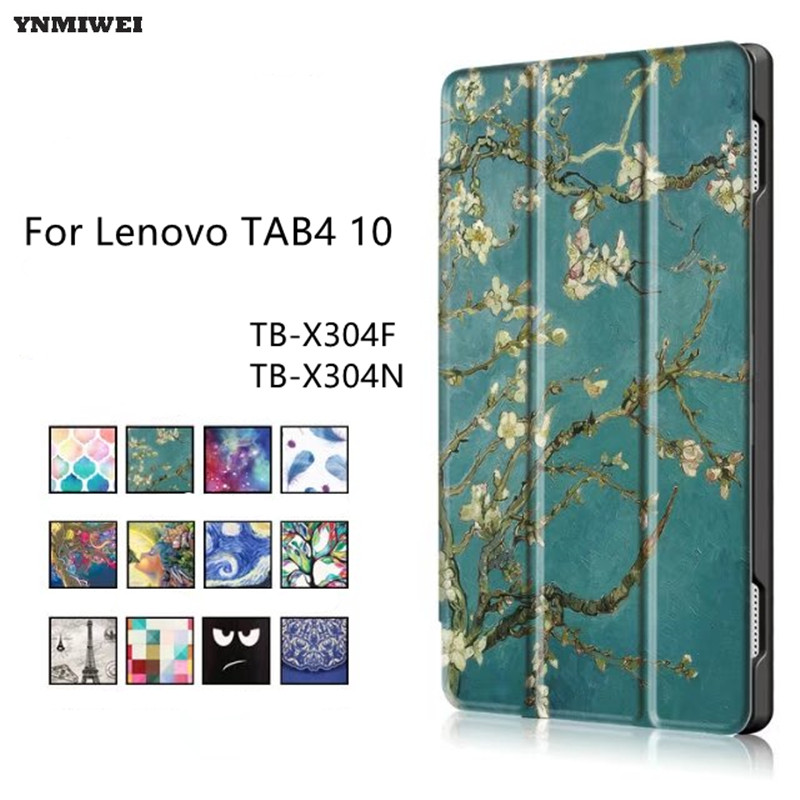 Flip Case For Lenovo TAB4 10 Smart PU Leather Case For Lenovo TAB 4 10 TB-X304F TB-X304N TB-X304L Tablet Case + Protector