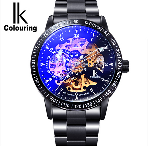 IK Colouring Religios Masculino Black Steel Band Golden Skeleton Fancy Blue Glass Automatic Mechanical Wristwatch Relojes Hombre