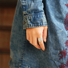 Lotus Fun réel 925 argent Sterling naturel fait à la main Bijoux fins anneau rotatif peut faire différents mots anneaux pour les femmes