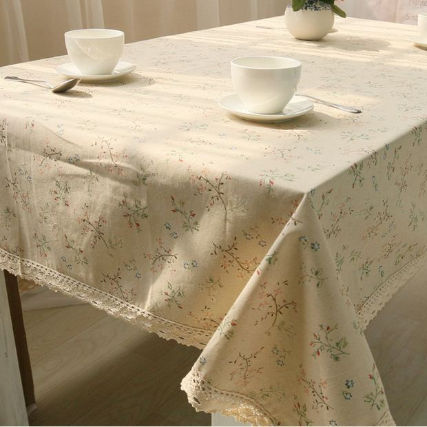 Korean style linen table cloth with lace edge flower print - Nappe table rectangulaire ...